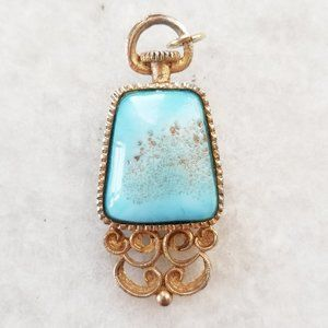 Vintage Blue Glass Gold Floral Reversible Pendant
